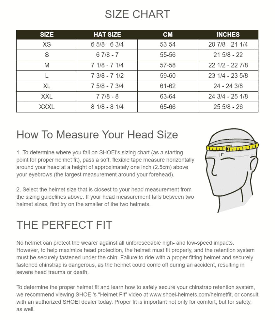 Shoei Helmet Size Chart
